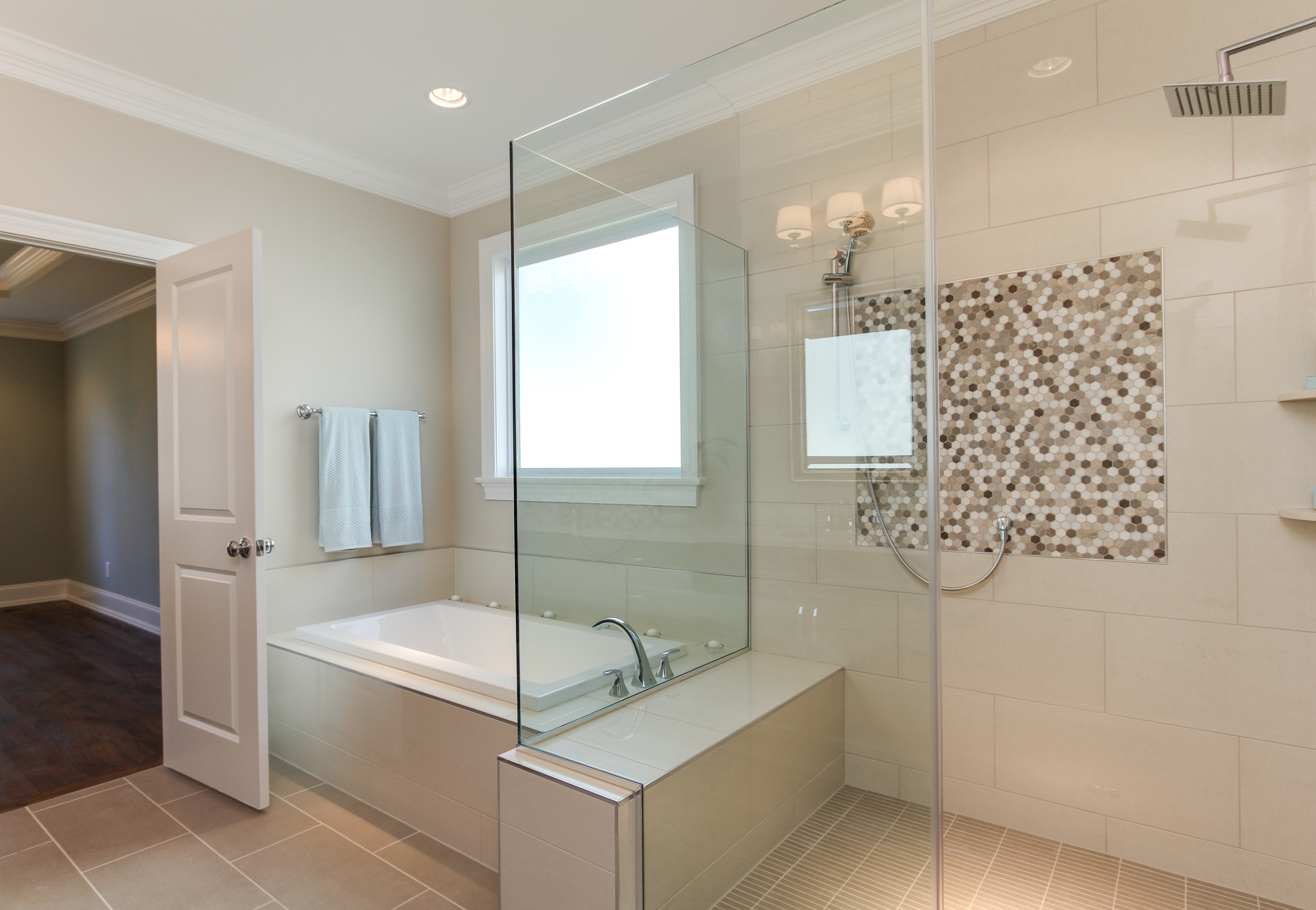 bathrooms jacobs building company master bathroom with jacuzzi tub and large walk in shower